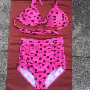 AMI Clubwear High Waist BIKINI Pola Dot TWO PIECE